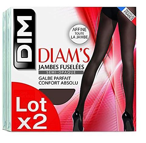 Dim Diam's Jambes Fuselées, Collants, Lot de 2, Femme, Noir, Large (Taille fabricant: 4)