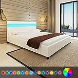 Festnight Cadres de lit Lit en bois avec LED 160 x 200 cm Cuir artificiel Blanc
