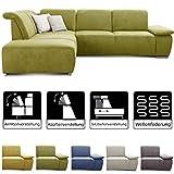 CAVADORE Ecksofa Tabagos / Große Couch mit Ottomane links / Modernes Sofa mit Sitztiefenverstellung / Inkl. Kopf- und Armteilverstellung/ 283 x 85 x 248 / Grün