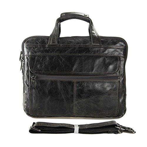 Everdoss Herren echt Rindleder Businesstasche Handtasche Umhängetasche Grau