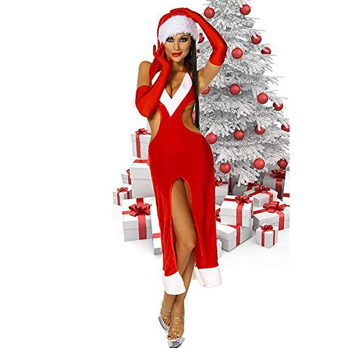 QueenAILSA Ladies Elegant Sexy Christmas Dress V-Neck Waist-Up Glamorous Sweet Miss Christmas Costume @M