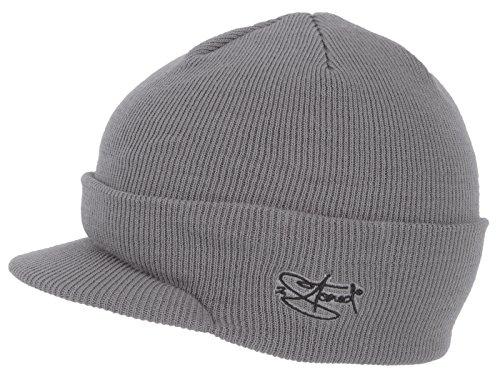 2Stoned Mütze mit Schirm Visor Beanie Cap Deluxe, One-Size Damen und Herren, Grau -