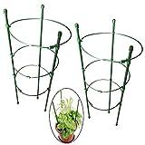 PERTTY Vine-Gitter Unterstützung 45cm Blumen Pflanzen Käfig Triple Kunststoff Säule mit Eisen Ringe Vine Pflanzen Ständer Topf Klein-Gitter für Haus Garten Balkon (2Stück)