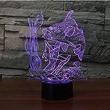 Luce Notturna,Controllo Remoto 7 Colori Cambia 3D Usb Visual Pesce Subacqueo Pronti A Cattura Lampada Da Tavolo Led Comodino Da Pesca Night Light Light Fixture Decori Regalo