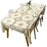 Yizunnu - Manteles de Ganchillo Hechos a Mano, diseño Floral Vintage, Color Beige, algodón, Beige,...