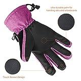 Fazitrip Skihandschuhe Winterhandschuhe Handschuhe Damen 3M Thinsulate Ski Handschuhe Pink