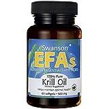 Swanson - Huile de Krill Pure BIO 500mg, 60 gélules (Superba®) - Omégas-3 Marin + EPA + DHA + Astaxanthine + Phospholipides - Complément Alimentaire Breveté - Apport Complet en Acides Gras Essentiels (Marine Krill Oil softgels capsules - Omega 3 - EFAs Supplement)