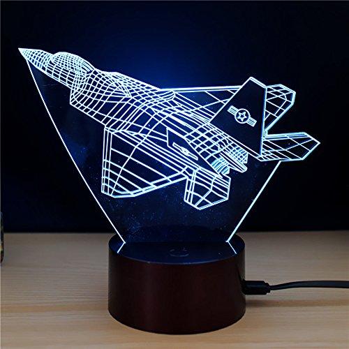 3d nacht licht baby spielzeug flugzeug lampe helfen kinder fiel sicher bei nacht 7 farben neben lampe tolle geschenkidee für kinder -D (Netzteil Laptop Flugzeug)