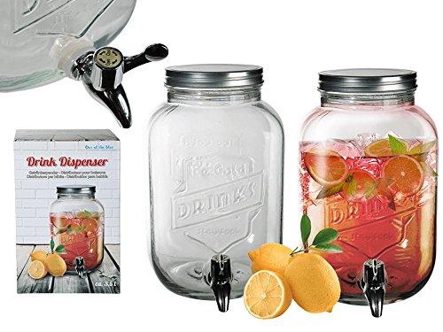 S.Ariba | 787851 | 1st Getränkespender 3,5 Liter aus Glas mit Hahn Saftspender Getränke Dispenser Spender im 1er Set -