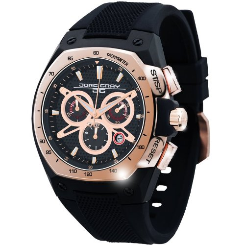 Jorg Gray Men's Quartz Watch with Black Dial Chronograph Display and Black Silicone Strap JG8300-21