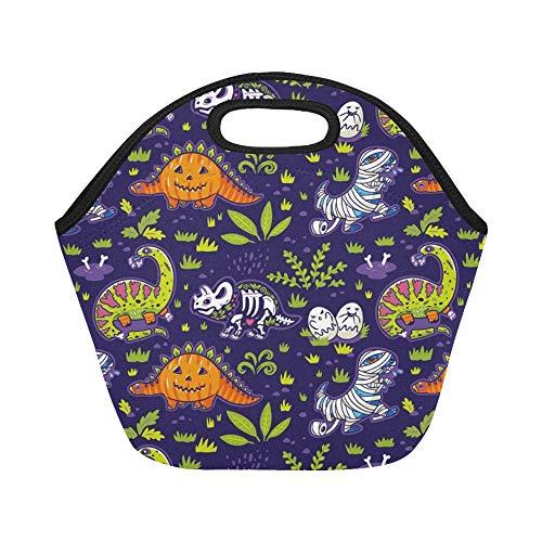 Isolierte Neopren Lunch Bag Happy Halloween lustige Cartoon Dinosaurier Kostüme Größe wiederverwendbare thermische dickes Mittagessen Tragetaschen für Brotdosen für draußen, Arbeit, Büro, Schule (Arbeit Halloween-kostüm-ideen Die Große Für)