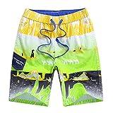 Echinodon Jungen Sweatshorts Badeshorts 100% Baumwolle Strand Urlaub Shorts mit Aufdruck Grün