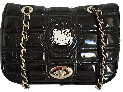 Authentic Sanrio Hello Kitty Damen Kreuz Body Bag Damen Schultertasche Elegant silbern Kette Griff mit PU-Leder Trim gesteppt Geldbörse für Mädchen und Damen HxBxT: 13x 19x 4cm, Schwarz - schwarz - Größe: One Size  -