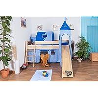Preisvergleich für Kinderbett/Hochbett Tom mit Rutsche und Turm inkl. Rollrost - Material: Buche massiv natur, Farbe: klar lackiert