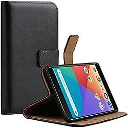 Echte Ledertasche, Handyhülle, Schutzhülle für Xiaomi Mi A1 / Mi 5X , Schwarz