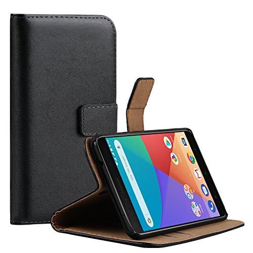 Ambaiyi Flip Funda de Cuero Genuina Piel con Tape Cartera Carcasa para Xiaomi Mi A1 / Mi 5X , Negro