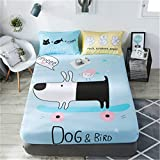 WFDDSD Muster Einzelstück Baumwolle Kinder Cartoon rutschfeste Bett Trampolin Abdeckung Baumwolle...