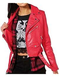 59efcbc6f Gavemenget Primavera y Otoño Mujeres Chaqueta de Moto de Cuero Casual Manga  Larga Jacket Ropa de