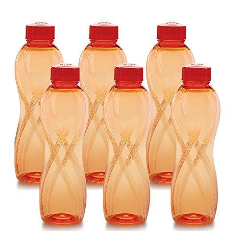 Cello Twisty PET Bottle Set, 1000ml, Set of 6 orange