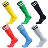 VWU Unisex Jungen Frauen Herren Fußball Socken Baumwolle 6er Pack (Muti, Large)