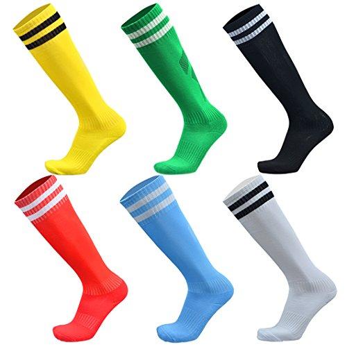 VWU Unisex Jungen Frauen Herren Fußball Socken Baumwolle 6er Pack (Muti, Small)