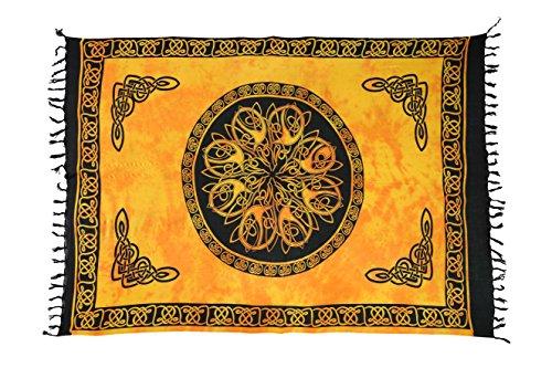 Ca 60 Modelle Sarong Pareo Wickelrock Strandtuch Tuch Wickeltuch Handtuch Bunte Sommer Muster Set Gratis Schnalle Schließe Keltisch Kreis Orange