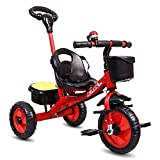 Little Olive Little Toes Baby Tricycle for Kids with Push Bar (Red)