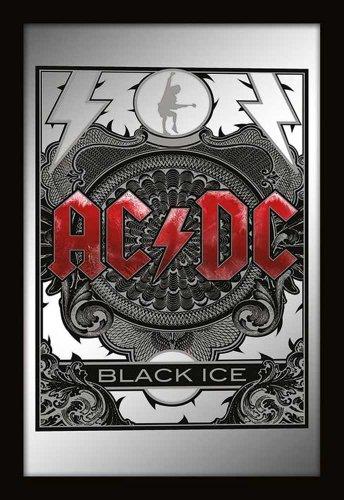 Empireposter - AC/DC - Black Ice - Größe (cm), ca. 20x30 - Bedruckter Spiegel Bedruckter Wandspiegel mit schwarzem Kunststoffrahmen