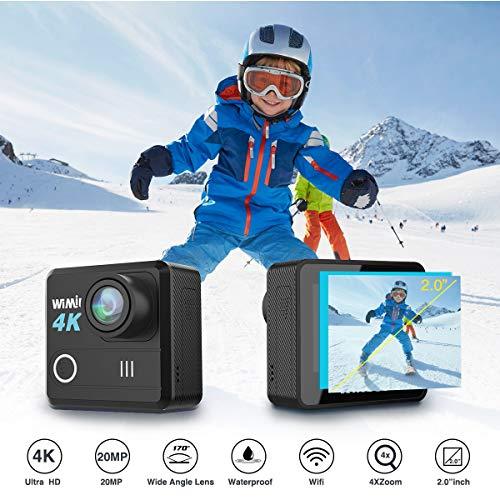 Cámara Deportiva 4k 20MP, WiMiUS L1 Camara de Acción Deportiva WiFi Ultra HD 2.0 LCD Pantella Impermeable 30M Gran Angular de 170ºcon 2 Baterías y Accesorios+Bolso (Negro)