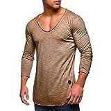 MRULIC Herren Longsleeve Rundhals Sweatshirt Slim Fit Lang Ärmel Muskel Fitness Baumwolle Casual Tops Shirts RH-011(Khaki,EU-52/CN-3XL)