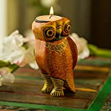 ExclusiveLane Handmade & Hand-Painted Owl Tea Light Holder Cum Decorative Candle Holder In Wood -Votive Candle Holders Diyas And Lanterns Diwali Decoration - B073WXW5X1