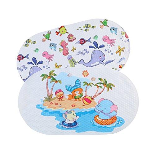 Antirutschmatte für die Badewanne - Rutschmatte aus Kunststoff mit Saugnäpfen - Badematte mit Motiven für Badespaß für Kinder - ca. 70 x 40 cm
