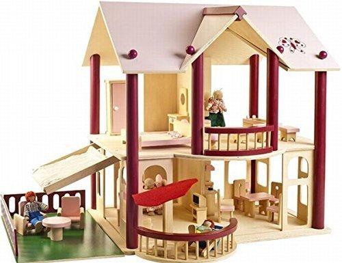 Leomark Grande Villa delle bambole, con mobili e personaggi, Casa delle bambole in legno