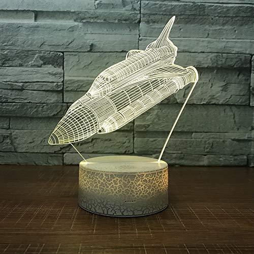 Halloween Weihnachtsgeschenk Rakete 3D Licht Bunte Touch Led Vision 3D Nachtlicht Fernbedienung Touch Schalter Weiß Basis
