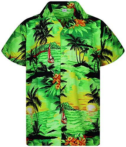 V.H.O. Funky Hawaiihemd, Kurzarm, Surf, Grün, 6XL - Seide Herren Shirts Kurzarm