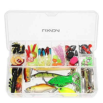 Fishing Lure Kits Lixada Fishing Lure Set 105Pcs Artificial Hard Soft Bait Minnow Spoon Two-layer Fishing Tackle Box by Lixada
