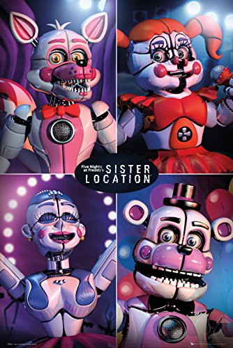 GB eye Ltd Five Nights At Freddy's, Sister Location Quad, Maxi Poster 61x91.5cm, Wood, Various, 65 x 3.5 x 3.5 cm