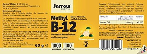 Methyl B12 1000 µg, aktives Vitamin B12 als Methylcobalamin, Lutschtabletten mit Zitronengeschmack, vegan, hochdosiert, Etikett in Deutsch, Englisch und Französisch, Jarrow, 1er Pack (1 x 100 Stück) - 2