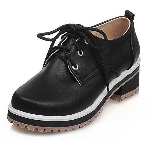AllhqFashion Damen Weiches Material Rund Zehe Schnüren Rein Pumps Schuhe Schwarz