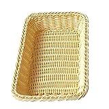 Foxom Rettangolare Cestino per pane Cestello Portaoggetti Woven Storage Basket Per Casa, Negozi o Mercati size 40* 30* 7 cm (Beige)