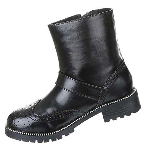 17676919d2e8 Stiefeletten Damen Schuhe Biker Boots Gothic Warm Gefütterte Schwarz 36 37  38 39 40 41 Nr ...