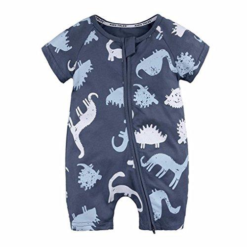 n,Binggong Kleinkind Neugeborenes Baby Jungen Mädchen Dinosaurier Reißverschluss Strampler Overall Outfits Kleidung O-Ausschnitt Atmungsaktiv Shirt Populäre (66, Marine) (Mario Ausschnitte)