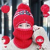 Hat La Marea del Sombrero De Invierno Marea Salvaje Elegante Orejeras Bicicleta Invierno Frío Bufanda Caliente Un Sombrero De Punto,Rojo,Un tamaño