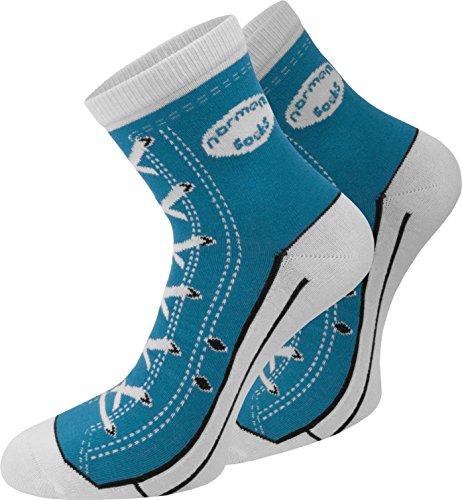 normani 4 Paar Baumwoll Socken im Schuh - Design Farbe Dunkelblau Größe 43/46