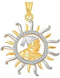 Vighnaharta Shrimant Yogi Shri Chhatrapati Shivaji Maharaj CZ Gold And Rhodium Plated Alloy Pendant For Men And...