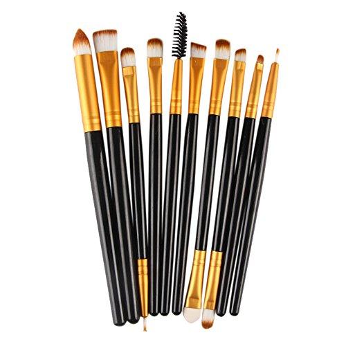 Maquillage 10pcs Ensemble Pinceaux Ombre À Paupières Pinceau À Lèvres Poudre Fond De Teint Poudre Fard À Paupières Eyeliner Lèvres Brosse Cosmétique (Noir)