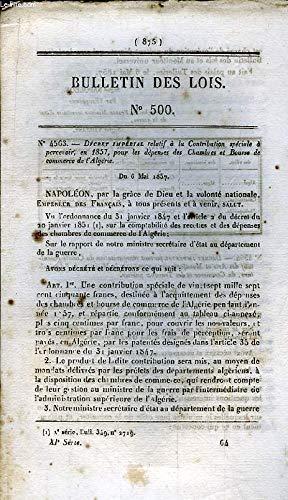 Bulletin des Lois N°500 : Décret Impérial relatif à la Contribution spéciale à percevoir, en 1857, pour les dépenses des Chambres et Bourse de commerce de l'Algérie. du 6 mai 1857 par ABBATUCCI