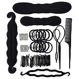 Pikins Accessori per lo styling dei capelli Kit Set Bun Maker Strumento treccia di capelli per fare stili di capelli fai da te Black Magic Hair Twist Accessori per lo styling per ragazze o donne