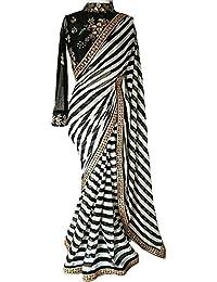 Lara Fashion Women's Black And White Striped Georgette Print Latest Designer Wedding Wear Saree With Cotton&Net...