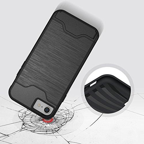 """iphone 6 Plus Coque , Etui iphone 6s Plus , ivencase Gris [Shockproof] [Extra Grip] Hybride Etui avec [Card Slot & Holder] pour iPhone 6 Plus/6S Plus 5.5"""" noir"""
